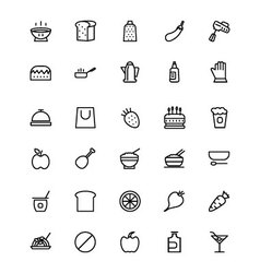 Food and drinks line icons 7 vector