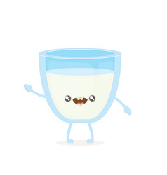 funny cartoon cute smiling milk glass character vector image