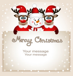 funny postcard with christmas reindeer and snowman vector image