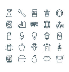 Garden icons set collection of maize bucket vector