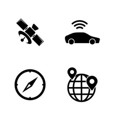 gps car navigation simple related icons vector image
