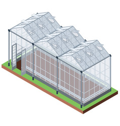Greenhouse three sections isometric icon vector