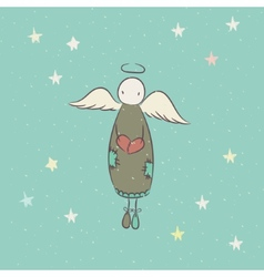 Hand drawn angel with heart vector image