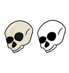 Hand drawn halloween skull ans a sketch vector