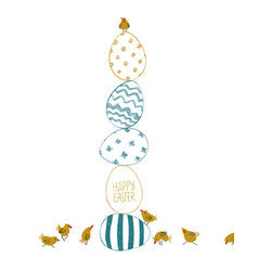 Happy easter greeting card with eggs and chicks vector