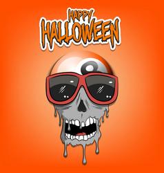 Happy halloween billiard ball with skull vector