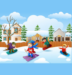 Happy kid playing snowboard vector