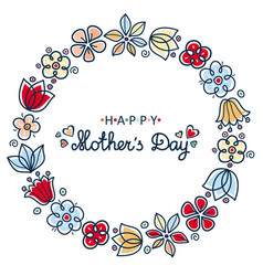 happy mothers day card round floral wreath vector image