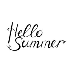 hello summer black lettering for design vector image