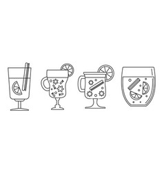honey mulled wine icon set outline style vector image