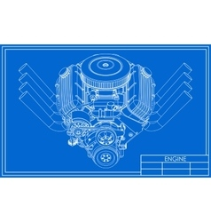 Hot rod V8 Engine drawing vector