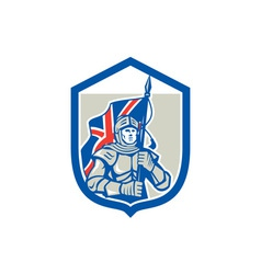 Knight Holding British Flag Shield Retro vector image