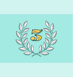 Laurel wreath icon with number three vector