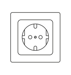 Line art black and white f type electric socket vector