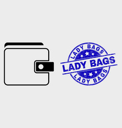 line purse icon and grunge lady bags seal vector image