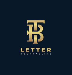 Logo abstract letter t and b gold color line art vector