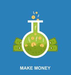 make money flat design concept vector image