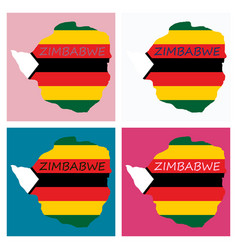 map of zimbabwe with the image of the national vector image
