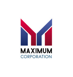 Maximum corporation letter m icon vector