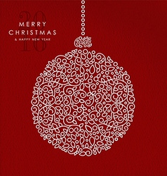 Merry christmas happy new year outline bauble deco vector image