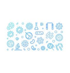 Microbe blue line or horizontal vector