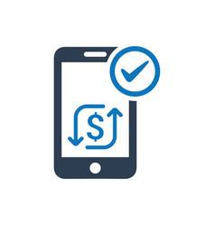 Mobile transaction icon vector