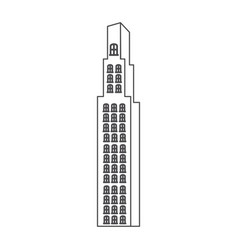 Monochrome contour with building skyscraper vector