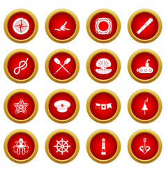 nautical icon red circle set vector image