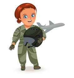 not female professions strong woman pilot in vector image