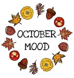 October mood decorative wreath cute cozy banner vector