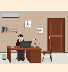 office room design interior with employee vector image