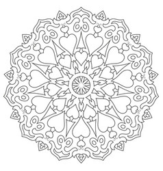 Page coloring mandala with hearts isolated on vector