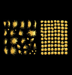 paint splashes set gold paint stain vector image