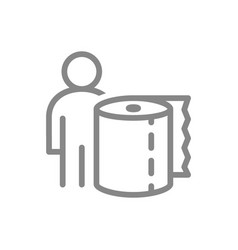 Paper towels and people line icon roll vector
