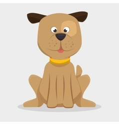 Playful doggy with collar icon vector