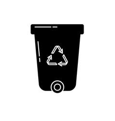 recycle bin silhouette icon in flat style vector image