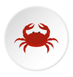 red crab icon circle vector image