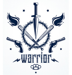 revolution and war emblem with dagger knife and vector image