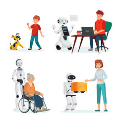 Robots interact with people in various situations vector