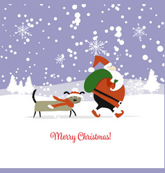 santa claus with dog symbol of 2018 christmas vector image