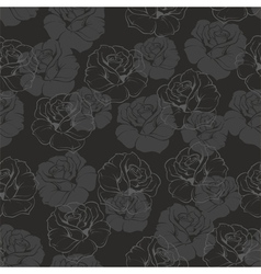 Seamless dark floral background with grey roses vector image