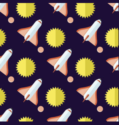 seamless pattern with rockets and sun isolated vector image