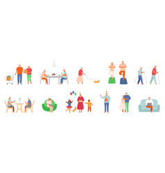 set active lifestyle seniors elderly people vector image