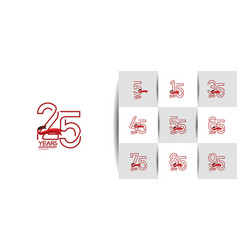 Set anniversary logo style with outline art style vector