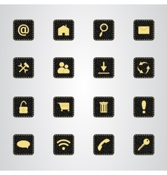 Set of icons on a black leather texture with gold vector