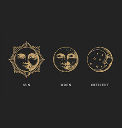 set sun moon and crescent hand drawn in vector image