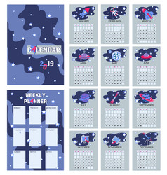 Space calendar planner for 2019 weekly planer vector