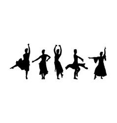 Spanish girl flamenco dancer girl silhouette vector