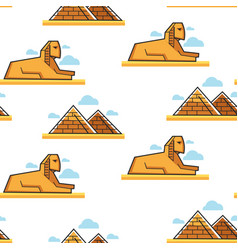 Sphinx and pyramid egyptian architecture vector