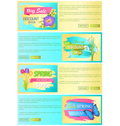 spring sale web posters set discount promo labels vector image